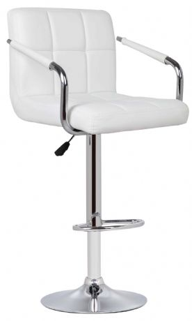 1 Milan White Faux Leather Padded Seat Bar Stool With Arms